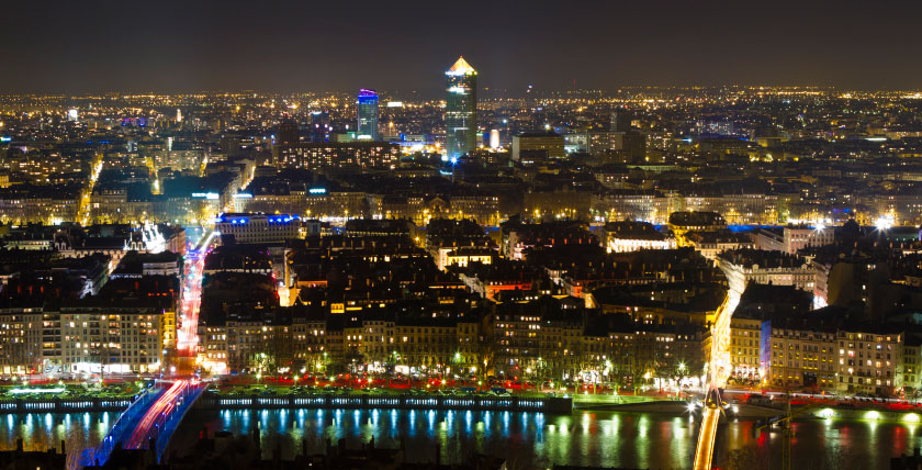 Aerial view of Lyon by night